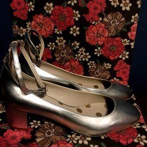 Boden Silver Metallic Catherine Mid Heel Shoes
